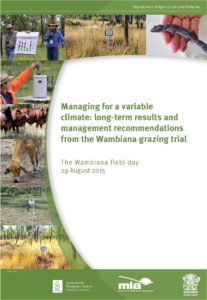 Cover page of the 'Managing for a variable climate: long-term results and management recommendations from the Wambiana grazing trial' booklet.