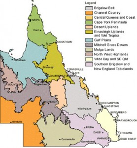 Pasture regions of Queensland map