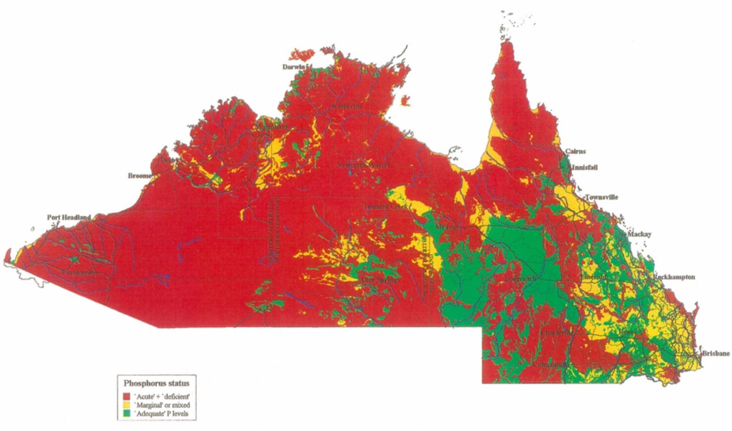 Map of phosphorus deficient areas in northern Australia