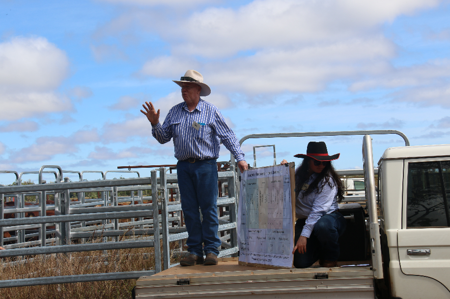 Principal Extension Officer, Joe Rolfe, stands on the back of landcruiser ute tray, using it as a stage as he explains the trial treatment groups.