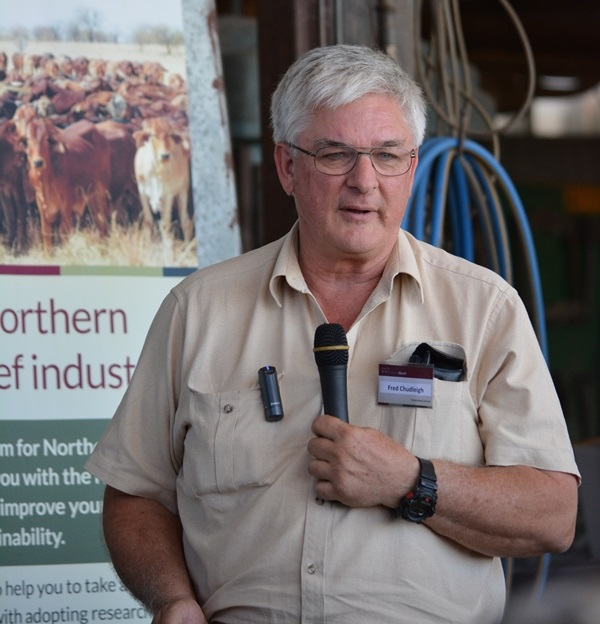 Fred stands with a microphone in front of a FutureBeef banner at a set of cattle yar