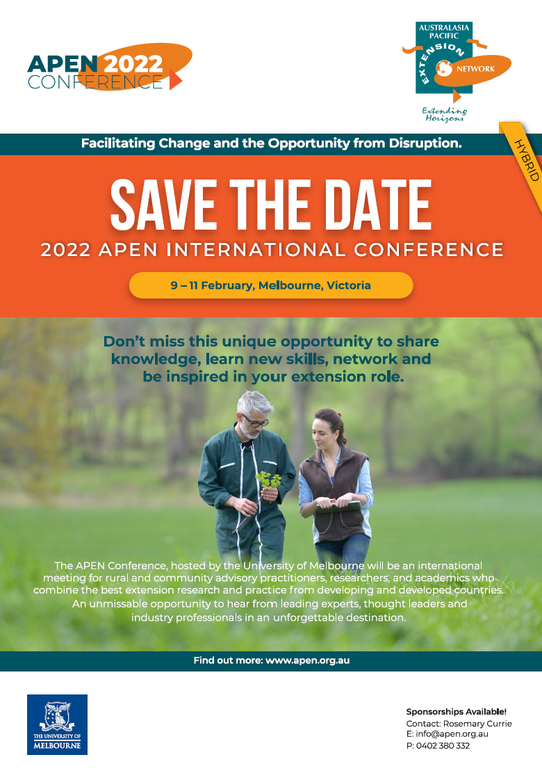 Save the date - APEN International Conference 9-11 February 2022, Melbourne.