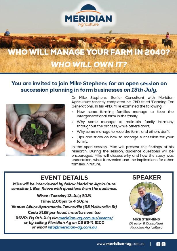 Succession workshop 13 July Townsville $125