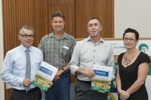 Richard George and John Ruprecht (both centre) from the Department of Agriculture and Food, with Tim Morris (far left) and Virginia Wilkinson, from Coriolis, who wrote the Growing the North discussion document.